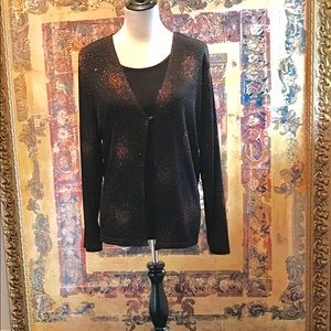 Curvy Couture Tops - Bronze & Black Two In One Sparkle Top NWT