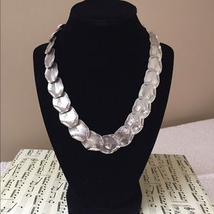 Cookie Lee Jewelry - Cookie Lee Silver Leaf Statement Necklace