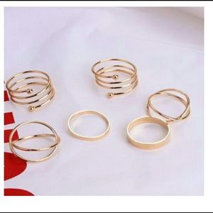 Jewelry - New In- 6 Multi Design Gold Midi Knuckle Rings Set