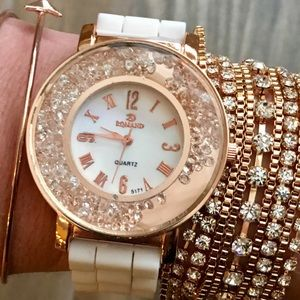 Crystal Rose Gold & White Silicone Watch