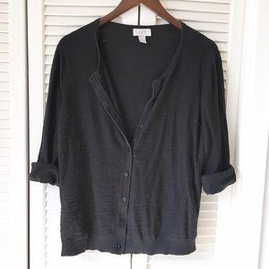 LOFT Sweaters - LOFT Classic Black 100% Cotton 3/4 Sleeve Cardigan