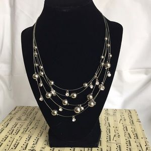 Cookie Lee Jewelry - Cookie Lee Silver & Rhinestone Illusion Necklace
