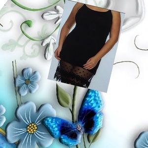 Fashionomics Dresses & Skirts - Black polkadot and lace trim swing tank dress