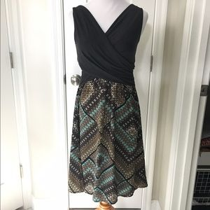 Anthropology dress with knit top and printed skirt