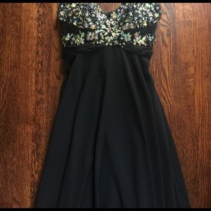Black strapless prom dress with sequins