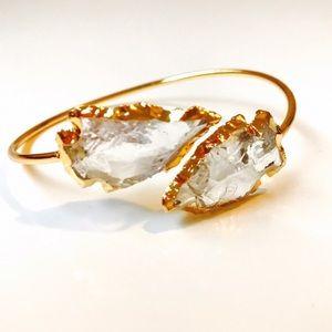 Bondhu Jewelry - ⚡️SALE Crystal Arrowhead Bangle, 18K Gold