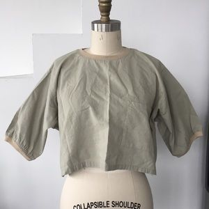 Vintage Tops - Vintage Sage Green Cotton Crop Top