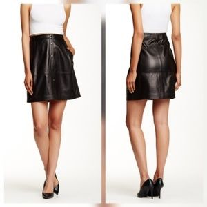 Vince Dresses & Skirts - Vince Black Leather Snap Button Skirt