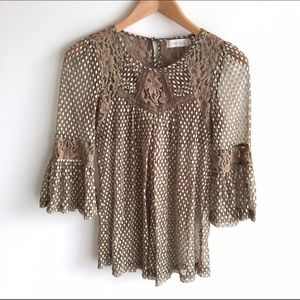 Altar'd State Brown Lace Dot Bell Sleeve Blouse