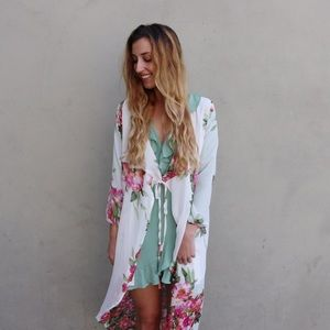 white floral duster