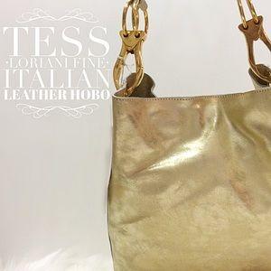 Fine Italian Leather Hobo ~ Metallic Gold