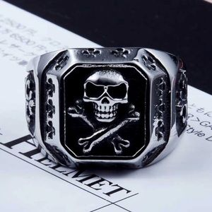Other - Pirate Black & Silver Biker Skull Ring NWT