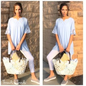 Tops - Sky Blue Embroidered Tunic