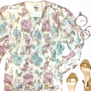 Patra Tops - Vintage White Patra Plus Metallic Floral Blouse