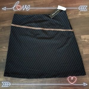 Dark Brown Lace Pinstripe Skirt
