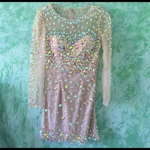 Long Sleeve sequined prom dress
