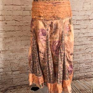 At Last Dresses & Skirts - Gypsie Boho Asymmetrical Hem Floral/Lace Skirt SzL