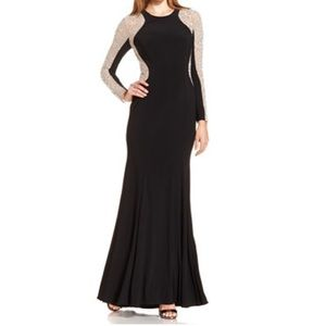 XSCAPE Long-sleeve studded evening gown