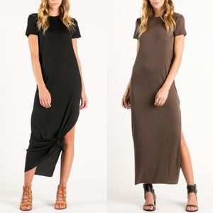 SANDEE short sleeve dress w/ slit - WARM MOCHA