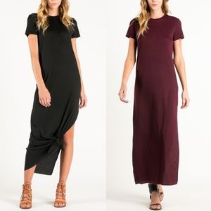 SANDEE short sleeve dress w/ slit - BURGUNDY
