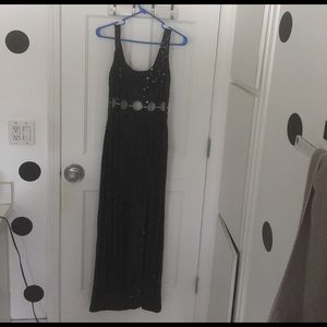 Dresses & Skirts - Long black sequin dress with cut out & slit