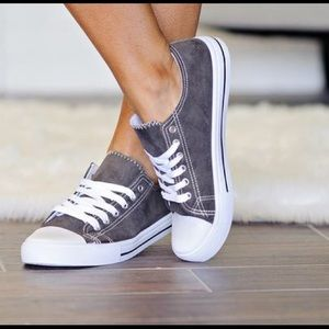 Fabfindz Shoes - Charcoal Suede Sneakers