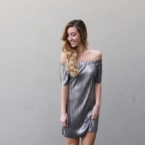 metallic off the shoulder dress