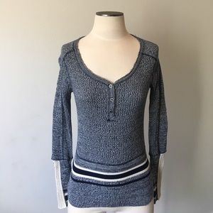 Free People Sweaters - Free People- Navy/Cream Marl Sweater SZ XS