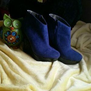 Michael Antonio Shoes - Michael Antonio BLUE BOOTS WITH GLITTER WEDGE.
