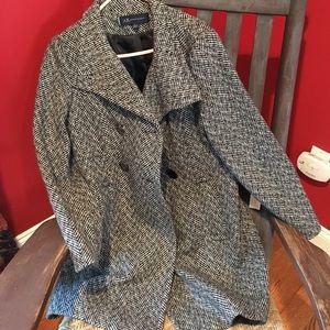 Black and white wool coat