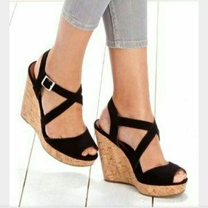 Hot Kiss Shoes - Espadrilles Black Wedge Heels Hot Kiss Large 8/9
