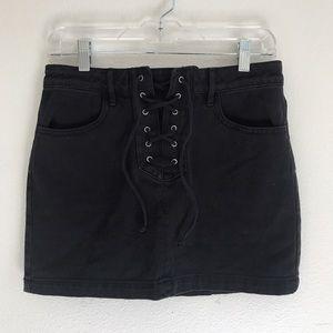 Kendall & Kylie Dresses & Skirts - Black Denim Lace Up Skirt