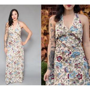 Vintage 70s Halter Floral Maxi Dress Empire Waist