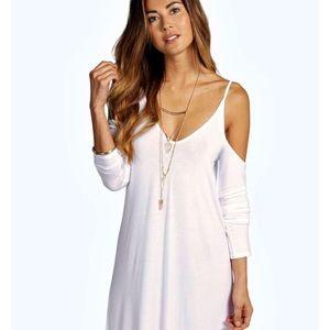 White cutout swing dress
