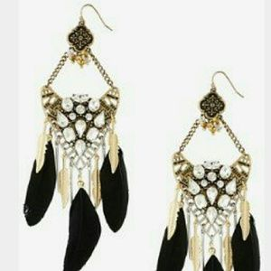 HP Feather and Stone chandelier earrings - Express