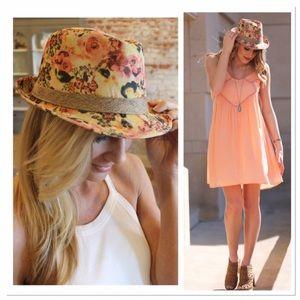 Infinity Raine Accessories - Peach Floral Fedora