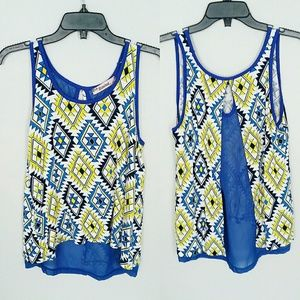 Rosebud Tops - Aztec Open Back Yellow and Blue Tank