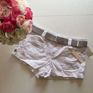 Dollhouse Pants - White Belted Cargo Shorts w/ Olive Belt