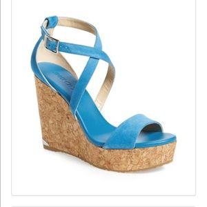 Jimmy Choo Shoes - New Jimmy Choo Portia Platform Blue Wedge