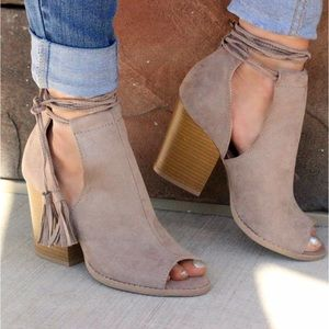 Bchic Shoes - Taupe Side Cut Lace Up Booties