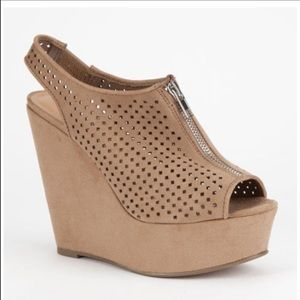 Soda Shoes - Soda tan taupe strap wedges heels mesh