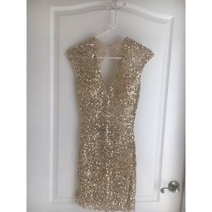 Primavera Size 0 Gold Sequin Mini Dress