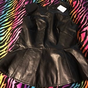 Windsor faux leather blouse🌹NWT💐