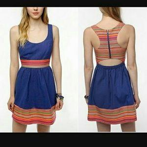 Colorful Mini Racerback Open-Back Linen Dress
