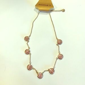 Monet Jewelry - NWT Monet Pink Rhinestone Necklace