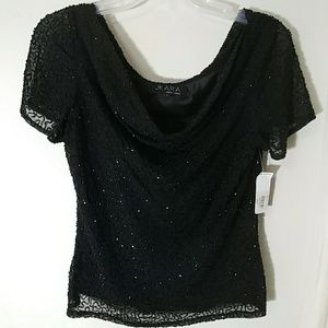 J Kara Tops - Bon Ton J kara black beaded cowl neck dressy top L