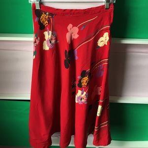 Dresses & Skirts - Vintage red floral tropical skirt 💐🌹🌷