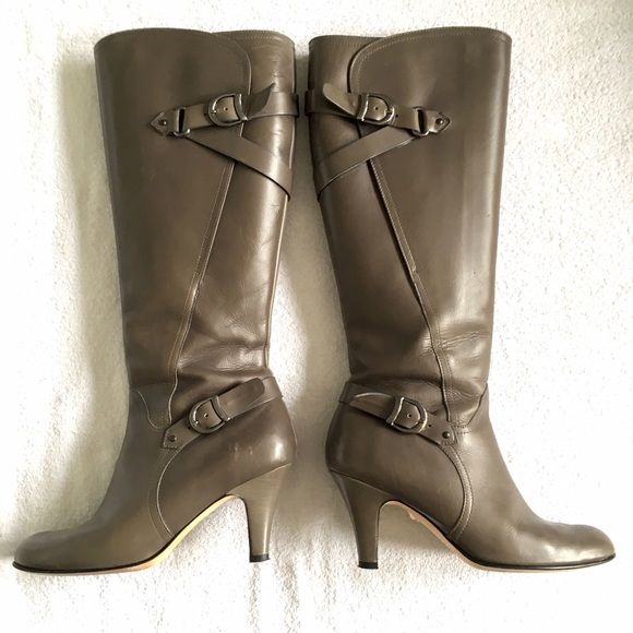 Anyi Lu Shoes - Anyi Lu Gray Stiletto Tall Boot with Buckles