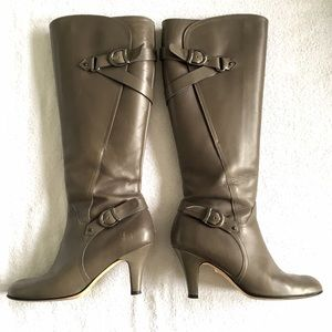 Anyi Lu Gray Stiletto Tall Boot with Buckles