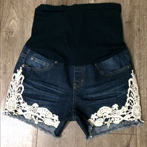 bella vida Pants - Bella vida maternity denim shorts with lace small
